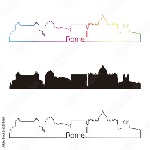 Papier Peint - Rome skyline linear style with rainbow
