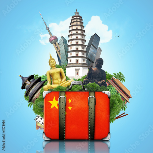 Papier Peint - China, China landmarks, travel and retro suitcase