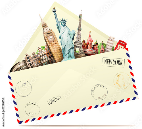 Papier Peint - Travel in the envelope, the letter to the tourist attractions