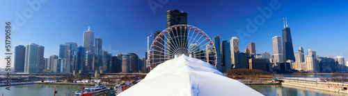 Papier Peint - Panoramic view of Chicago skyline in winter, IL, USA