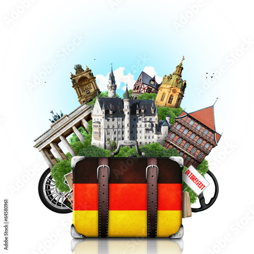 Papier Peint - Germany, german landmarks, travel and retro suitcase