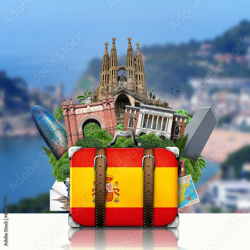 Papier Peint - Spain, landmarks Madrid and Barcelona, travel suitcase