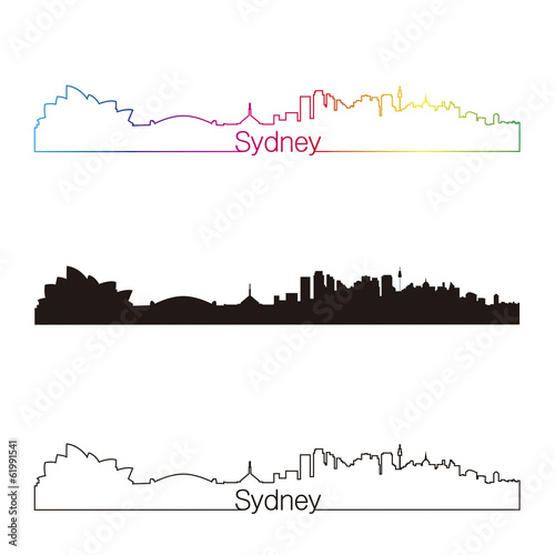 Papier Peint - Sydney skyline linear style with rainbow