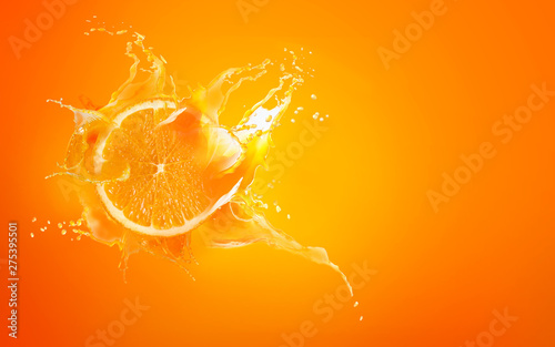 Papier Peint - Slide cut piece of orange drop on orange background with orange juice splash water with copy space