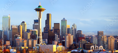 Papier Peint - Seattle skyline panorama at sunset, WA, USA