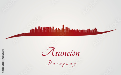 Papier Peint - Asuncion skyline in red