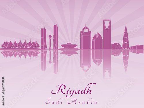 Papier Peint - Riyadh skyline in purple radiant orchid