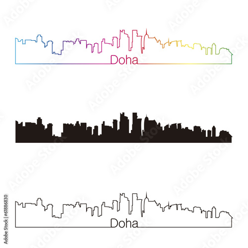 Papier Peint - Doha skyline linear style with rainbow