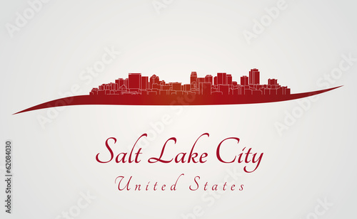 Papier Peint - Salt Lake City skyline in red