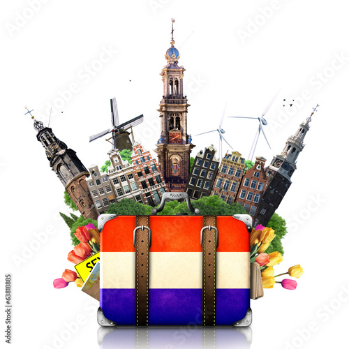 Papier Peint - Holland, Amsterdam landmarks, travel and retro suitcase