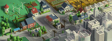 Papier Peint - 3d rendering of city landscape. Low poly colorful background. Isometric cartoon city scape. Different districts: simple rural cottages and fields, hou
