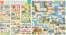 Papier Peint - Great city map creator.Seamless pattern map and  Houses, infrastructure, industrial, transport, village and countryside set. Make your perfect city