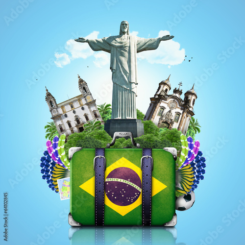 Papier Peint - Brazil, Brazil landmarks, travel and retro suitcase