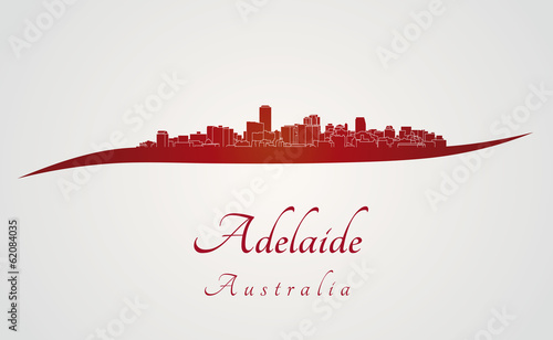 Papier Peint - Adelaide skyline in red