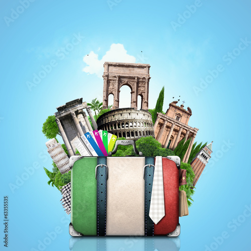 Papier Peint - Italy, attractions Italy and retro suitcase, travel