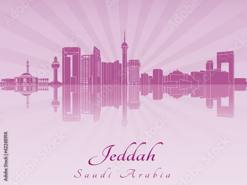 Papier Peint - Jeddah skyline in purple radiant orchid