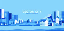 Papier Peint - Vector illustration in simple minimal geometric flat style - city landscape with buildings, hills and trees - abstract horizontal banner