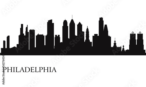 Papier Peint - Philadelphia city skyline silhouette background