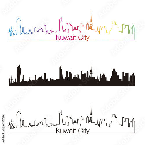 Papier Peint - Kuwait City skyline linear style with rainbow