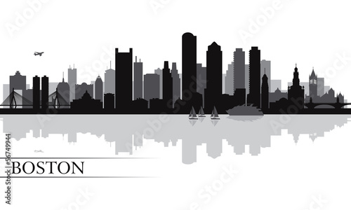 Papier Peint - Boston city skyline silhouette background