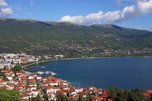 Papier Peint - Ohrid lake and city landscape