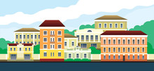 Papier Peint - City landscape with beautiful old buildings. Vector