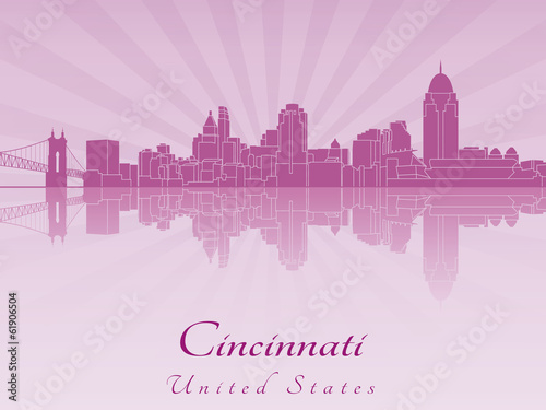 Papier Peint - Cincinnati skyline in purple radiant orchid