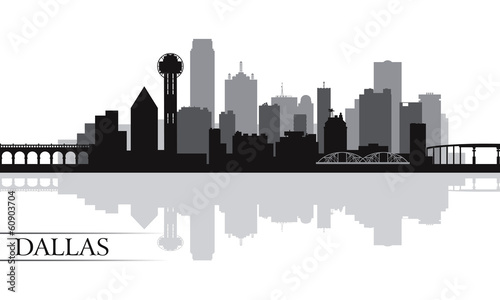 Papier Peint - Dallas city skyline silhouette background