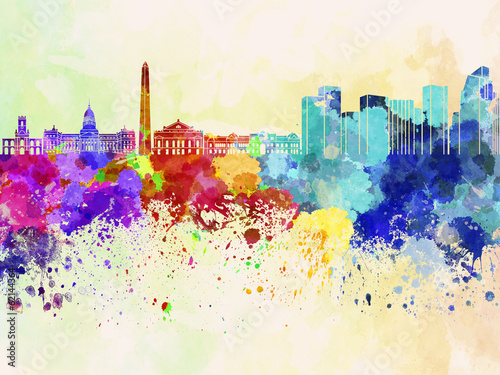 Papier Peint - Buenos Aires skyline in watercolor background