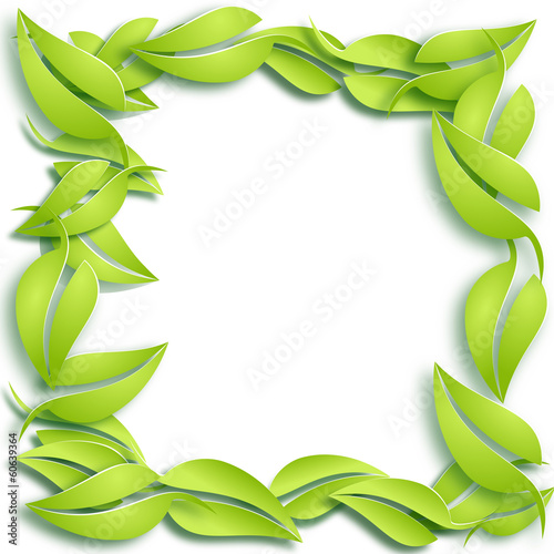 Papier Peint - Vector Fresh green leaves background. Spring concept