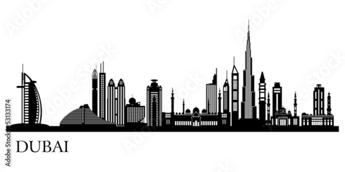 Papier Peint - Dubai City skyline detailed silhouette