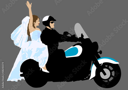 Papier Peint - Motorbike and bride