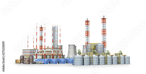 Papier Peint - factory Isolated on white background. 3d illustration