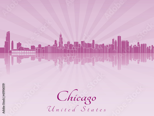 Papier Peint - Chicago skyline in purple radiant orchid