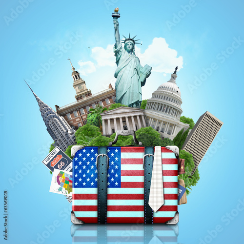 Papier Peint - USA, landmarks USA, suitcase and New York