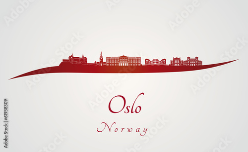 Papier Peint - Oslo skyline in red