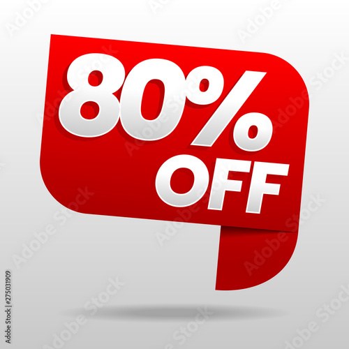 Papier Peint - Sale 80% off. Discount or special offer. Advertising campaign. Stock vector illustration.