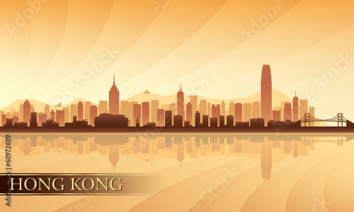 Papier Peint - Hong Kong city skyline silhouette background