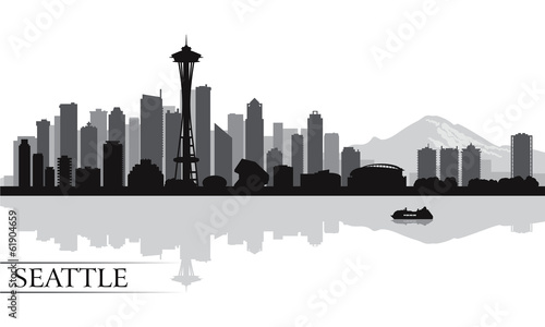 Papier Peint - Seattle city skyline silhouette background
