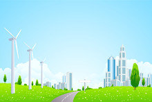 Papier Peint - Green Landscape with Wind Power Station Road and Modern City