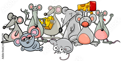 Papier Peint - cartoon mice characters with cheese