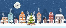 Papier Peint - happy new year and merry Christmas winter old town street. christmas town city panorama. Santa Claus with deers in sky above the city. Vector illustra