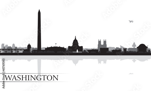 Papier Peint - Washington city skyline silhouette background