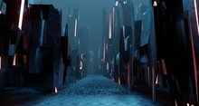 Papier Peint - Sci fi landscape night city glows with neon light tall cubes blocks grunge interior 3D rendering