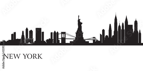 Papier Peint - New York city skyline silhouette background