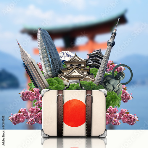 Papier Peint - Japan, japan landmarks, travel and retro suitcase