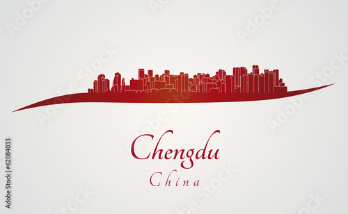 Papier Peint - Chengdu skyline in red