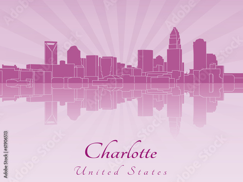 Papier Peint - Charlotte skyline in purple radiant orchid
