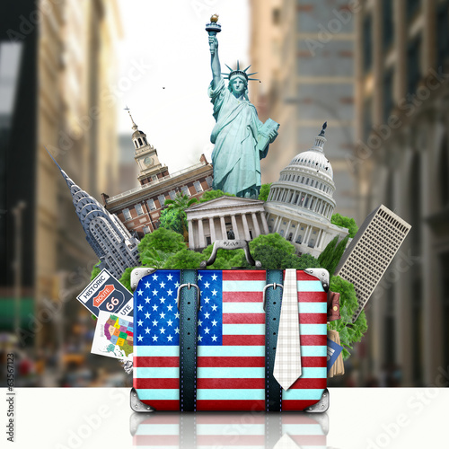 Papier Peint USA, landmarks USA, suitcase and New York