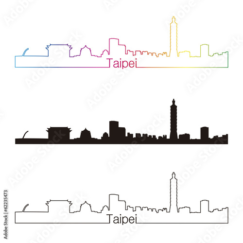 Papier Peint - Taipei skyline linear style with rainbow